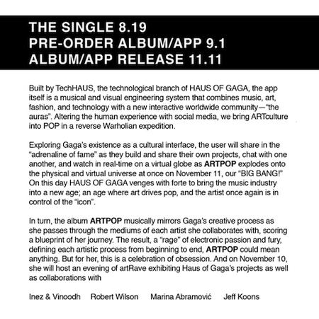 ARTPOP Press release