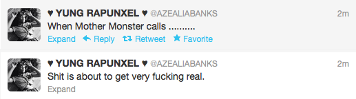 azealia banks and lady gaga tweets