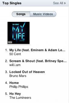 itunes top singles my life 50 cent