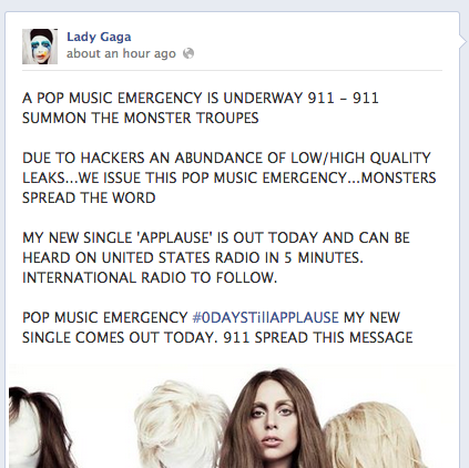 Lady Gaga Applause Facebook Announcement