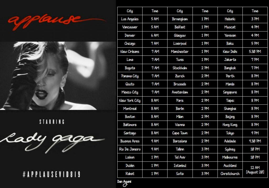 Lady Gaga Applause Music Video Release Times