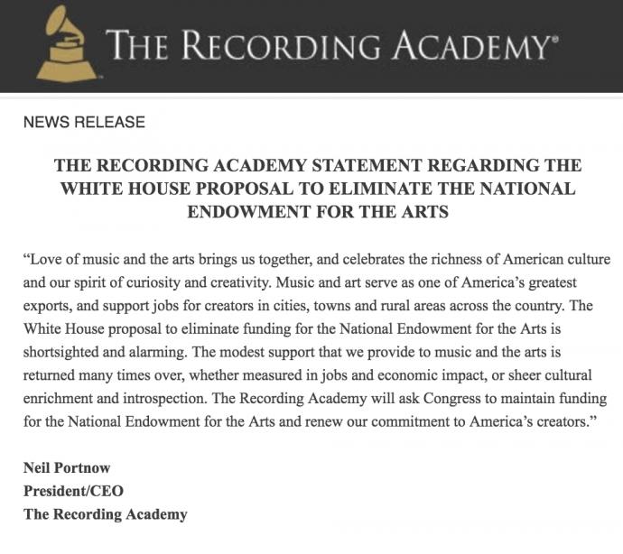 recording academy statement